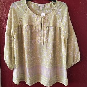 Loft Light Green and Gray Sheer Blouse